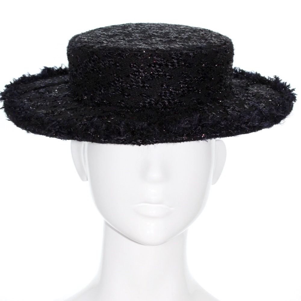 Bonnie Evelyn Millinery » Black Sparkle Tweed Boater – Chanel Style 51f2a0314f8